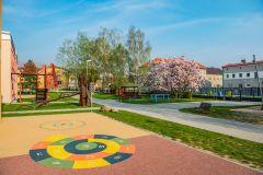 Hřiště s mlhovištěm na zahradě školy